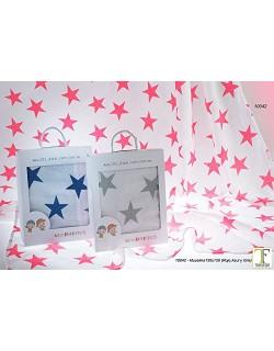 Gamberritos Muselina 120x120 Estrellas Rojo