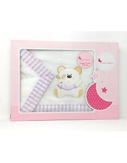 Sabanas Franela 100% Algodón Coche ( 40 x 80 cm ) - Osito - Color Blanco-rosa ( bajera+encimera+funda almohada).Danielstore