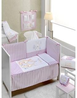 INTER BEBÉ 91501 Set 3 piezas: edredón, nido y almohadas para cuna Mod Conejo Bebé, 60 X 120 cm, de color rosa