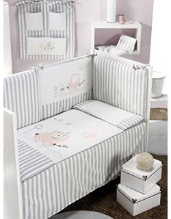 INTERBABY, Set para cama grande, incl. Edredón, parachoques y almohada, 70 x 140 cm, 3 uds, Rose (Rosa)