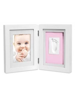 Marco de fotos para bebé para huella de mano y pie 3D, Portafotos de madera con molde de yeso, blanco,+ Regalo de un babero- Dan