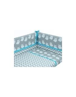 Danielstore - Funda nordica para CUNA , protector y funda de almohada, diseño Owl, 60 x 120 cm, Color azul+ REGALO juego de saba
