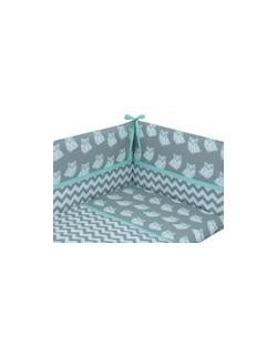 Danielstore - Funda nordica para CUNA , protector y funda de almohada, diseño Owl, 60 x 120 cm, Color verde + REGALO juego de sa