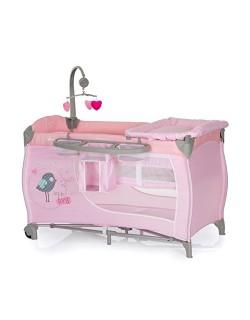 Hauck Babycenter - Cuna de viaje para bebé, incluye elevador para recién nacidos, cambiador, movil, cesta portapañales, ruedas,