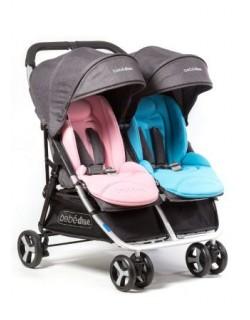 Silla gemelar Dual + Barra delantera + Colchonetas en color rosa y azul + Burbuja de lluvia