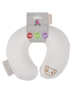 Cuddle Co.Almohadilla del cuello del bebé Almohada Bamboo con Memoty Foam Bebe Cojín Suave y portátil,Blanco