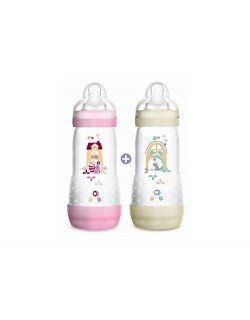 MAM Lot de 2 biberons anti-colique violet/blanc 320ml