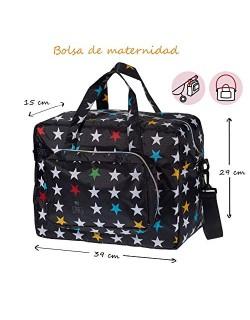My Bag's Bolso Maternidad de Tejido de Nylon Acoplable en Silla de Paseo Color Negro con Estampado de Estrellas