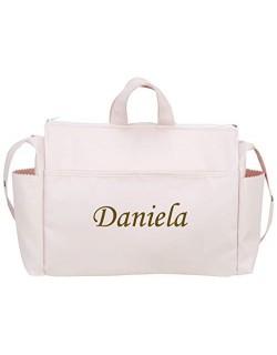 danielstore- Bolso Talega Personalizada con nombre bordado de Polipiel Silla de Paseo. Color rosa