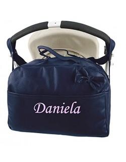 Bolso Carrito Bebe Polipiel Personalizado con nombre bordado + Regalo de un babero -Danielstore. Color marino