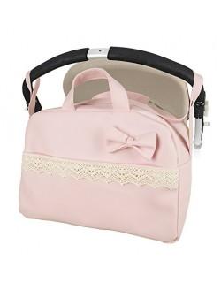 """Bolso Maternal lactancia para capazo carrito bebe""""danielstore"""" Color rosa (Penelope) + regalo de un babero"""