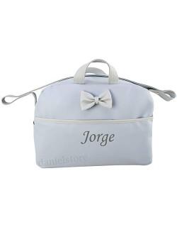 danielstore- Bolso Personalizado Bebe Carrito bebe con nombre bordado. Kona azul-gris + Regalo de un babero