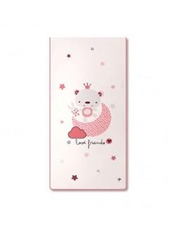 Pirulos 20012320 - Edredón, protector y cojín, diseño love friends, 62 x 125 cm, color blanco y rosa