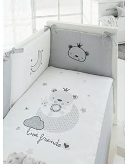 Pirulos 21012410 - Edredón, protector y cojín, diseño love friends, 62 x 125 cm, color blanco y gris