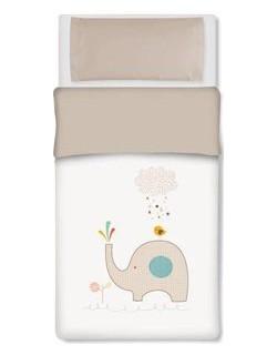 Pirulos 33012410 - Saco nórdico, diseño elefante, algodón, 62 x 125 cm, color blanco y lino