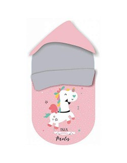 Pirulos 39013219 - Saco grupo 0, diseño unicornio, algodón, 51 x 64 cm, color blanco y fresa