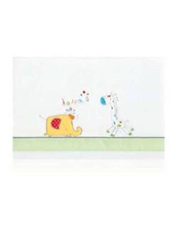 Triptico sabana micr para Minicuna 50x80 Happy Zoo Blanco y Pistacho
