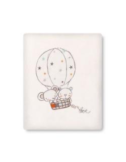 Pirulos 85311610 - Manta microlina 120 x 155, diseño globo, color blanco y lino