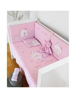 Pirulos PACK BEBE Composición regalo bebe:,Edredón, protector y cojin Les amis rosa MAXICUNA + nana francesa + arrullo + cojin l