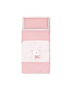 Pirulos 34013014 - Saco nórdico, diseño osito star, algodón, 72 x 142 cm, color blanco y rosa