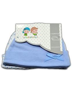 Gorro recién nacido. Set 3 unidades. 100% algodón. Color Azul.