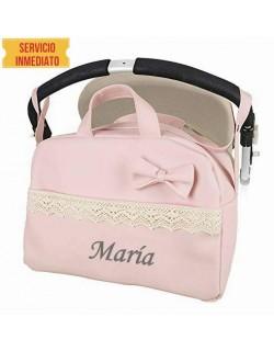 Bolso polipiel carrito bebe. Color rosa. Personalizado con nombre bordado- Danielstore