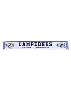 Bufanda Telar Campeones Real Madrid - Producto Licenciado - Medidas 140 x 20 cm. - 100% Acrilico