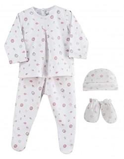 Set regalo nacimiento Danielstore. Compuesto por: Gorro, manoplas, camiseta manga larga y polaina. Recién nacido, presentado con