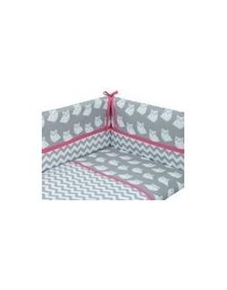 Danielstore - Funda nordica para CUNA, protector y funda de almohada, diseño Owl, 60 x 120 cm, Color rosa + REGALO juego de saba