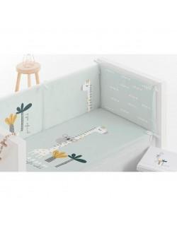 Edredón desenfundable + protector de cuna de tela estampada 60x120 cuna con barras blanco verde...
