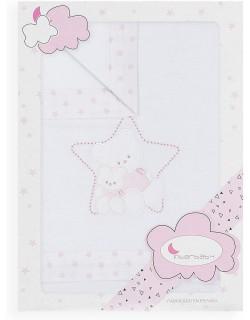 Sábanas Cuna Invierno Franela 100% algodón estrella rosa Interbaby