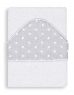 Toalla Capa de baño Bebe Personalizada con nombre bordado - Color Blanco-gris- Danielstore