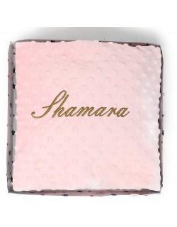 Manta Bordada Personalizada, Carrito Bebe-Capazo (1,10 x 0,80 cm) Color rosa
