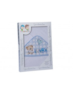 Capa de baño bebe 100 x 100 cm de algodón Color blanco azul Gamberritos