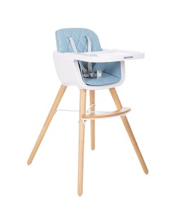 Kikkaboo Trona Woody Azul Evolutiva con asiento de polipiel