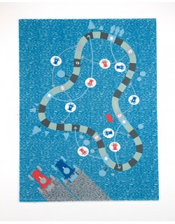 Alfombra Infantil De Juegos y Decoración  80 x 140 cm H01– azul