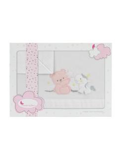 Sábanas Minicuna Oso Unicornio Estrella Blanco Rosa