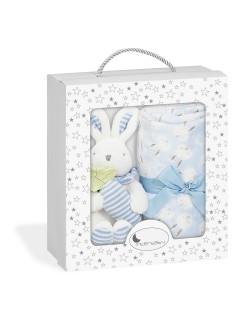 Set Peluche Manta Conejito Personalizado  Regalo recién nacido Bebe Danielstore -Color azul