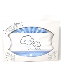 Sabanas Cuna 60x120 algodon Varios Colores- (bajera+encimera+funda almohada).Modelo Nubes