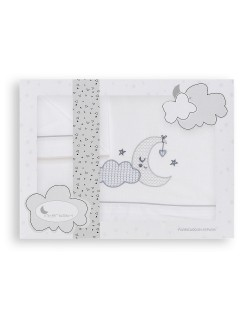 Sábanas Minicuna Nube Luna Algodón 100% Blanco Gris