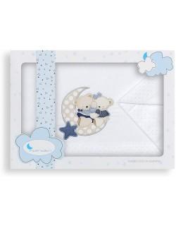 Sábanas Minicuna Osito Amoroso Blanco Azul