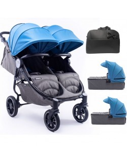Silla Gemelar Easy Twin 4 Chasis Negro + 2 Capazos + Bolso de regalo Baby Monsters