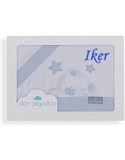 Sabanas Cuna Don Algodón Personalizada con nombre bordado (bajera, encimera y funda almohada) azul