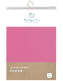 Pirulos Sábana bajera Ajustable para Minicuna algodón 100 % Color fresa