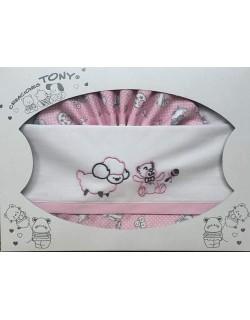 Danielstore-Sabanas Cuna 60x120 algodón - (bajera+encimera+funda almohada).Modelo Ovejita rosa