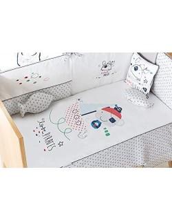 Edredón + chichonera + cojín Maxicuna diseño Pirata 72 x 142 cm, color blanco-gris