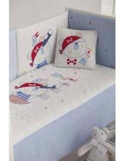Edredón + chichonera + cojín diseño Pirate 72 x 142 cm, color blanco-gris