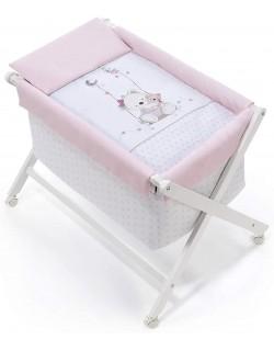 Vestidura Minicuna para bebé Oso Columpio rosa Interbaby