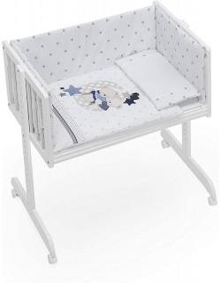 Minicuna Colecho bebé + Vestidura (Colcha-Cojín y Protector) + Colchon Oso Amoroso azul