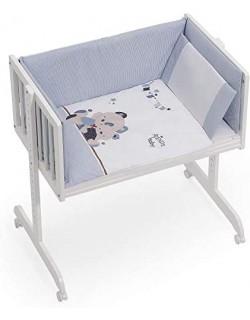 Minicuna Colecho bebé + Vestidura (Colcha-Cojín y Protector) + Colchon Friends Baby azul